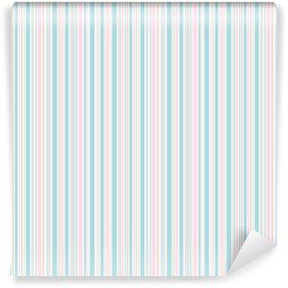 Spesialtilpasset vinyltapet Sømløs vårstrimmemønster. rosa blå beige og hvite linjer bakgrunn. abstrakt vektorillustrasjon