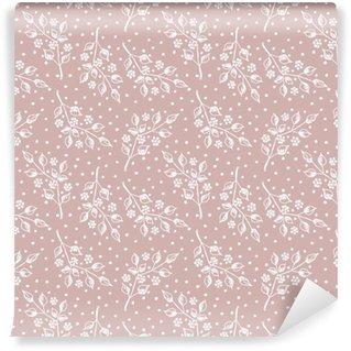 Spesialtilpasset vinyltapet Sømløs vektor hånd trukket sømløs floral mønster. rosa bakgrunn med blomster, blader, prikker. dekorative søte grafisk tegnet illustrasjon. mal for bakgrunn, innpakning, tapet.