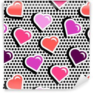 Sømløse mønster med farverige badge form hjerter på sort dotty baggrund. Vektor illustration med hjerte klistermærker i tegneserie 80s-90s tegneserie stil. pop art stil gentagelse tekstur med røde hjerter. Personlige vinyltapet