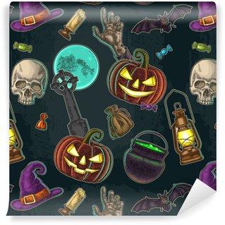 Måttanpassad vinyltapet Sömlöst mönster för halloween fest. vintagefärg gravering