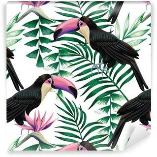 Spesialtilpasset vinyltapet Toucan tropisk mønster