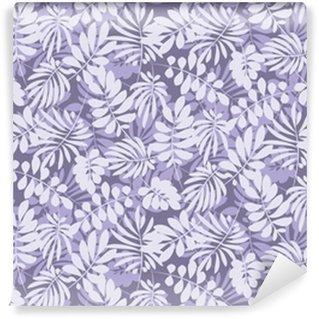 Måttanpassad vinyltapet Tropiska löv sömlösa mönster i enkel platt stil. yta design vektor illustration för tryck, omslagspapper, tyg, bakgrund.