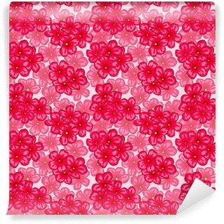 Måttanpassad vinyltapet Vackert sömlöst mönster med rosa blommor tusensköna. designa gratulationskort och inbjudningar till bröllop, födelsedag, valentins dag, mors dag och annan säsongsbetonad semester