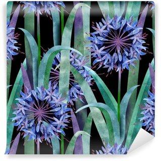Måttanpassad vinyltapet Vattenfärg Agapanthus Flower Seamless på svart bakgrund