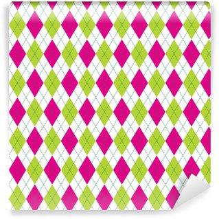 Måttanpassad vinyltapet Vektor argyle sömlösa mönster i rosa och grön färg. sömlöst argyle mönster. rutigt sömlöst mönster.