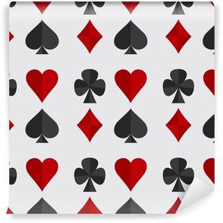 Vektor illustration spil baggrund. sømløse mønster med spillekort dragter. Vinyltapet