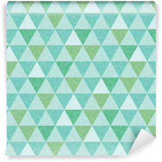 Måttanpassad vinyltapet Vektorblå och grön triangel och lämnar konsistens sömlös repetitionsmönster bakgrund. perfekt för modernt tyg, tapeter, omslag, brevpapper, heminredningsprojekt.