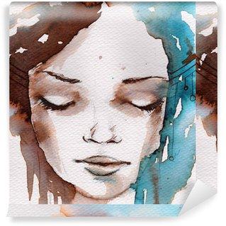 Spesialtilpasset vinyltapet Vinter, kaldt portrett