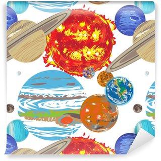 Aurinkokunnan kuvio-doodle Räätälöity vinyylitapetti