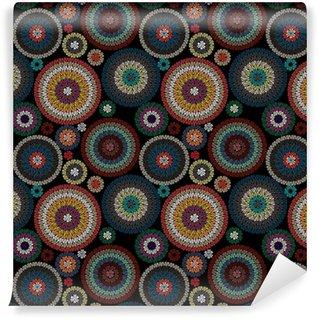Kirjonta saumaton kuvio koristeena värillisiä ympyröitä mustalla taustalla. vektori kuva Räätälöity vinyylitapetti