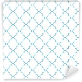 Quatrefoil classic net saumaton vektori kuvio. sininen ja valkoinen perinteinen marokkolainen yksinkertainen rhomb ornamentti. Räätälöity vinyylitapetti