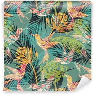 Saumaton eksoottinen kuvio abstraktilla palmu lehdillä ja colibri. Vinyylitapetti