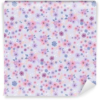 Saumaton kukka kuvio. tausta pienissä vaaleanpunaisissa kukissa lila tausta tekstiiliä, kangasta, puuvillakangasta, kattaa, tapetit, tulostaa, lahjapaketointi, postikortti, scrapbooking. Räätälöity vinyylitapetti