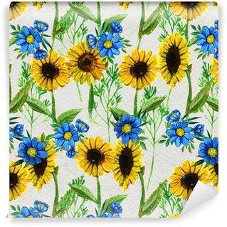 Saumaton malli auringonkukan ja luonnonkasvien kanssa Räätälöity vinyylitapetti