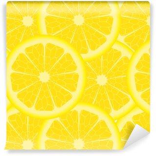 Saumaton malli keltaisilla sitruunoilla Räätälöity vinyylitapetti