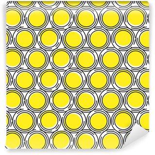 Saumaton malli keltaisten ja mustien piireiden ympyröistä, joissa on leikkauksia. geometrinen tausta. abstraktio. Räätälöity vinyylitapetti