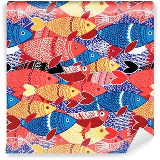 Saumaton malli värikkäitä kaloja Räätälöity vinyylitapetti