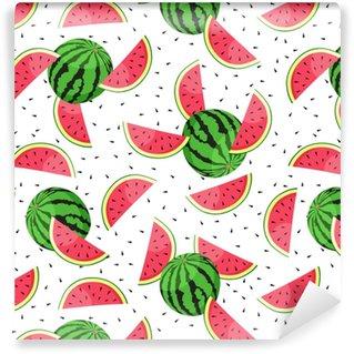 Saumaton malli vesimeloni viipaleilla. vektori kuva. Räätälöity vinyylitapetti