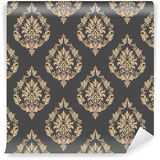 Vektori damastin saumaton kuvio tausta. klassinen ylellisyyttä vanhanaikainen damask-ornamentti, kuninkaallinen viktoriaaninen saumaton rakenne taustakuville, tekstiili, kääre. hieno kukka barokki malli Räätälöity vinyylitapetti