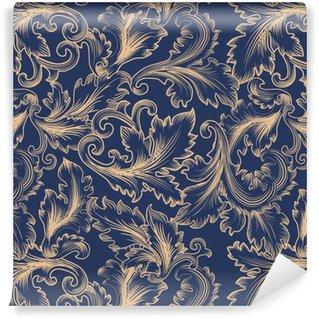 Vektori saumaton malli barokin tyyliin. vintage tausta kutsu, kankaat Räätälöity vinyylitapetti