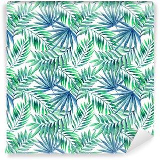 Vesiväri trooppinen lehdet saumaton malli Vinyylitapetti