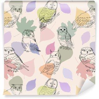 Vinylová Tapeta Abstraktní bezproblémové vzorek s roztomilými sovy a listy