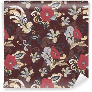 Vinylová Tapeta Abstraktní květiny bezešvé vzor, vektorové květinové pozadí, kreslené ručně kreslené, nádherné elegantní ornament. barevné pupen, lístky, stonky, listy a kudrlinky na tmavě hnědém pozadí. pro návrh textilií