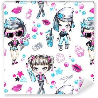 Vinylová Tapeta Akvarel bezešvé vzor s módní teenagery. okouzlující dívky se zmrzlinou a telefonem, grunge dívka s limonádou. letní ilustrace. bavte se. životní styl. lze použít v dětském designu.