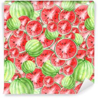 Vinylová Tapeta Akvarel bezproblémové ročník vzorek s meloun vzor. plátky, plody melounu. barvy červené a zelené.