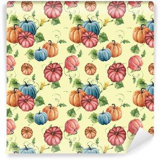 Vinylová Tapeta Akvarel dýňový bezešvé vzor. ručně malované jasné dýně ornament s květinou, listy a větev izolovaných na žlutém pozadí. botanické ilustrace pro design a tkaniny. halloween tisk.