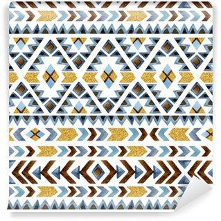 Vinylová Tapeta Akvarel etnický bezešvé vzor. geometrický ornament.