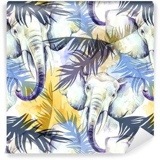 Vinylová Tapeta Akvarel exotický bezešvé vzor. sloni s barevnými tropickými listy. africké zvíře pozadí. ilustrace umění volně žijících živočichů. lze tisknout na trička, tašky, plakáty, pozvánky, kartičky.
