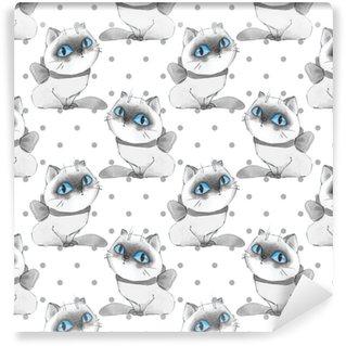 Vinylová Tapeta Akvarel kreslené kočky, bezešvé vzor 10