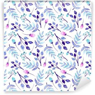 Vinylová Tapeta Akvarel modré a růžové květy opakují vzor