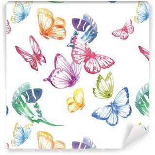 Vinylová Tapeta Akvarel motýl vektorový vzor