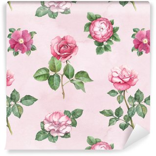 Vinylová Tapeta Akvarel růžové květiny ilustrace. bezešvé vzor