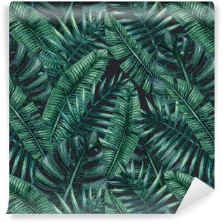 Vinylová Tapeta Akvarel Tropické palmové listy bezproblémové vzor. Vektorové ilustrace.