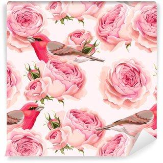 Vinylová Tapeta Anglické růže a ptáci bezešvé
