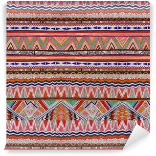 Vinylová Tapeta Aztécké kmenové nativní oranžové