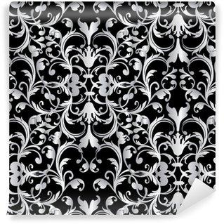 Vinylová Tapeta Barokní bezproblémový vzor. květinové damaškové černé pozadí tapety ilustrace s vintage bílým 3d květiny, listovat listy a starožitné barokní ozdoby ve viktoriánském stylu.vektor černé bílé textury
