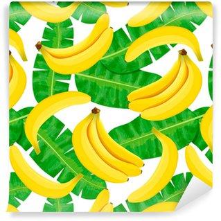 Vinylová Tapeta Bezešvé akvarel ilustrace tropických listů, hustá džungle. Vzor s tropickým letním motivem lze použít jako texturu pozadí, balicí papír, textilní design, tapety. Banánové palmové listy