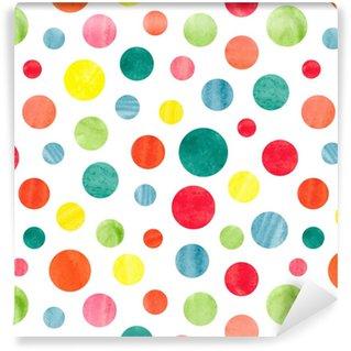 Vinylová Tapeta Bezešvé barevné tečky vzor. vektorové pozadí s kruhy akvarel.