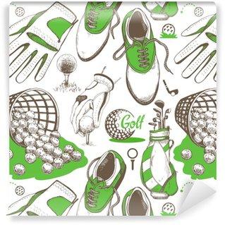 Vinylová Tapeta Bezešvé golfový vzor s košíkem, boty, auto, putter, míč, rukavice, taška. vektorová sada ručně tažených sportovních potřeb. ilustrace ve stylu náčrtu na bílém pozadí.