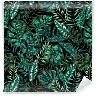 Vinylová Tapeta Bezešvé grafické umělecké tropické přírody džungle vzor, moderní stylový zeleň pozadí celoplošný tisk s děleným křídlem, filodendron, palmový list, kapradina vějířovitý