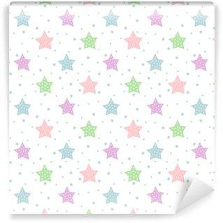 Vinylová Tapeta Bezešvé hvězda vzor pro děti dovolené. pastelové barvy baby shower vektorové pozadí. roztomilé dítě kreslení stylu hvězda ilustrace oblohy.