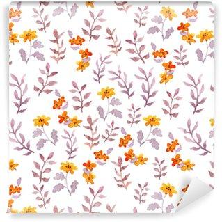 Vinylová Tapeta Bezešvé jednoduché květinové vzory. vintage roztomilé květiny a listy na bílém pozadí. vodové barvy