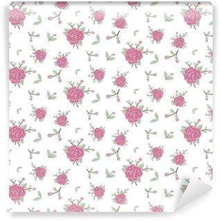Vinylová Tapeta Bezešvé květinové vzorek růžové květy, pastelové barvy, vektorové ilustrace