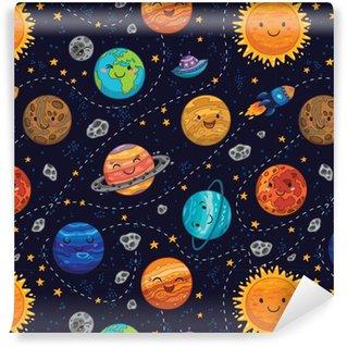 Vinylová Tapeta Bezešvé prostor vzor na pozadí s planety, hvězdy a komet.