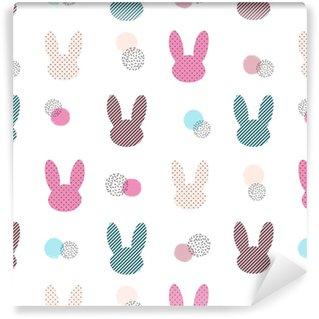 Vinylová Tapeta Bezešvé vektorové barevné vzor s zajíčkem.