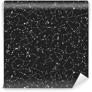 Vinylová Tapeta Bezešvé vektorový vzor se souhvězdí na černém pozadí. astronomické vědecké školy bezešvé vzor na tabuli pozadí